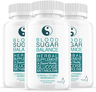 (3 Pack) Blood Sugar Balance Support Supplement, Blood Sugar Herbal Advanced Formula Pills Capsules - Supports Diabetic Hi...