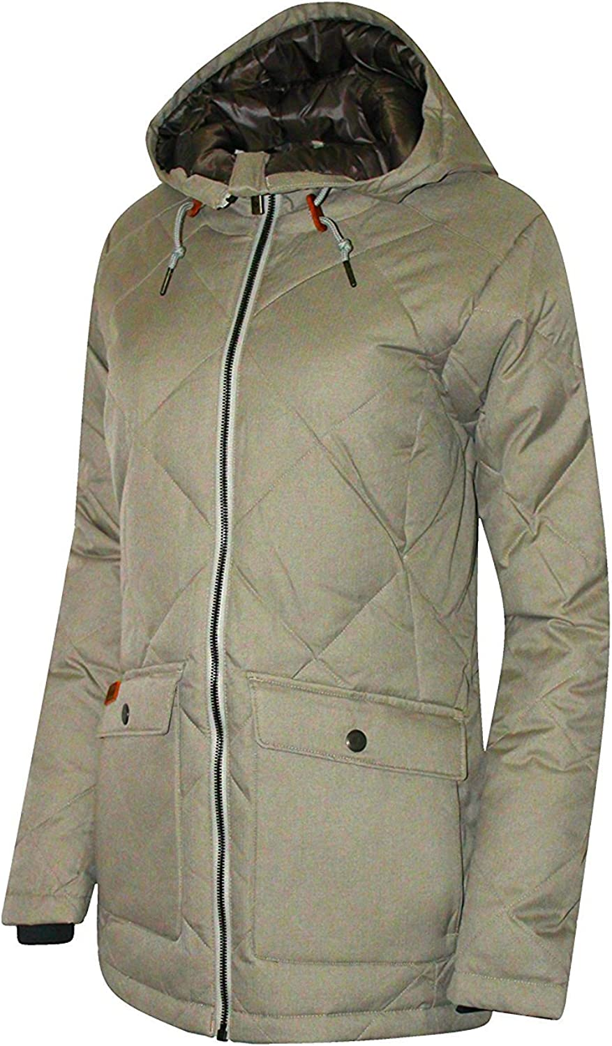 Columbia Women's Crescent Cliff Down Hooded Insulated Jacket Parka (L, DARK GREY)