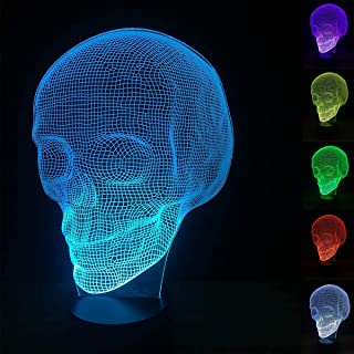Skull 3D Night Light, Fullosun Optical Illusion Bedside Lamp 16 Colors Changing Remote Control Death Model Creative Bedroo...