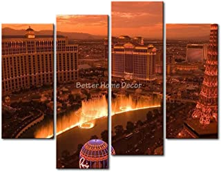 YEHO Art Gallery Painting Las Vegas In Sunset Print On Canvas The Picture City Pictures Oil Prints For Home Decor