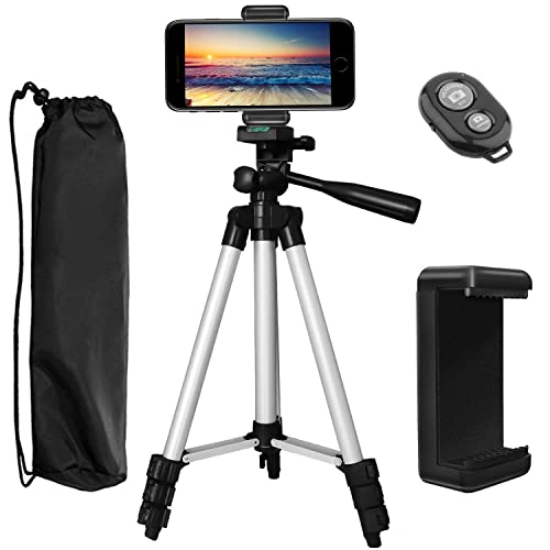 """PEMOTech Phone Tripod, 43"""" Inch Aluminum Lightweight Portable Camera Tripod +Smartphone Holder +Bluetooth Remote Shutter +Carry Bag Compatible for iPhone XR Xs Max X 8/7/6/6S/Plus Stabilizer"""