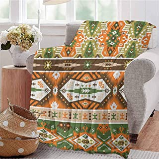 Luoiaax Tribal Children's Blanket Vector Design with Tattoo Aztec Mayan Culture Style Stripes Shapes Print Lightweight Soft Warm and Comfortable W70 x L90 Inch Amber Fern Green Brown