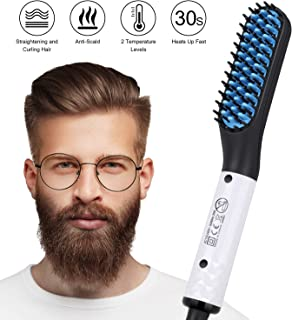 Beard Straightener for Men, Vimpro Multifunctional Electric Hot Comb and Beard Straightening Brush Hair Straightening Comb with Dual Voltage 110-240V Great for Travel