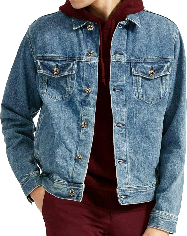 Mens Denim Jackets Vintage Classic Trucker Work WEAR Western Stonewash Jean Coat