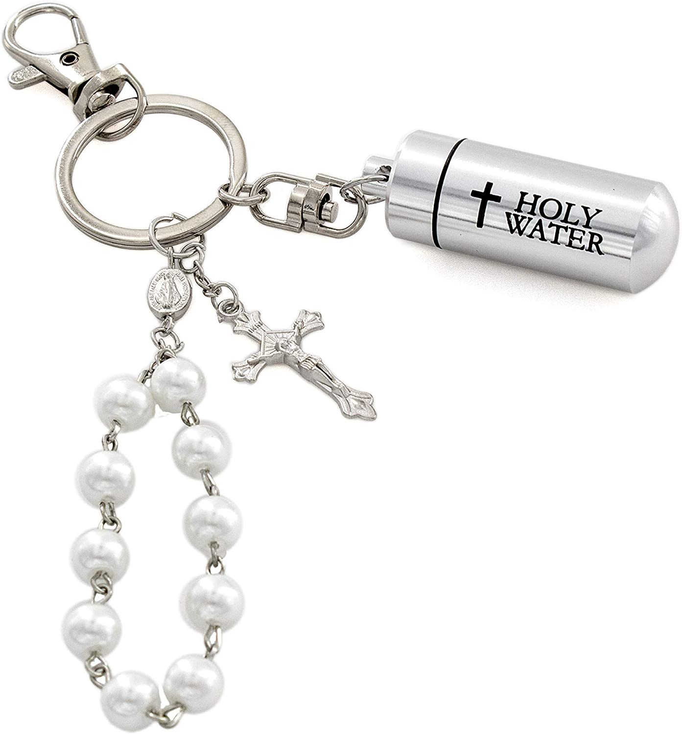 Includes St Christopher Prayer Card Elysian Gift Shop Holy Water Key Chain with Black Hematite One Decade Rosary with Silver Metal Crucifix Cross Charm Dangle and Holy Water Vial Black