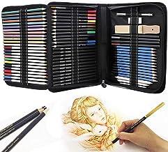 Piezas de boceto y dibujo de Arte kit, Dibujo de kit,Vagalbox 71-Piece Sketch Kit Juego completo,también incluye borradore...
