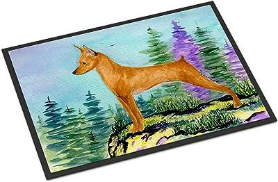 """Caroline's Treasures SS8660MAT Min Pin Indoor Outdoor Doormat, 18"""" x 27"""", Multicolor"""