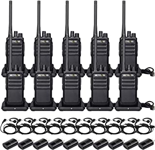 Retevis RT17 Two-Way Radios Long Range Rechargeable License Free UHF Vox Scan Encryption Security Walkie Talkies with Earpiece G Shape (10 Pack)