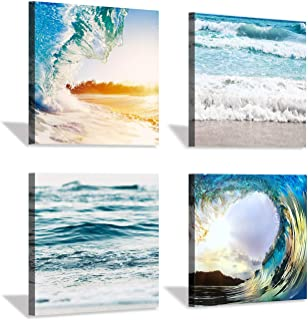 Ocean Shore Canvas Wall Art: Strong Sea Wave Photographic Print Multi-Piece Image for Bedroom (12''x12''x4pcs)