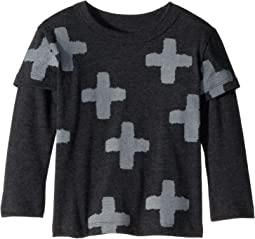 Extra Soft Plus Sign Print Faux Twofer Long Sleeve Tee (Toddler/Little Kids)