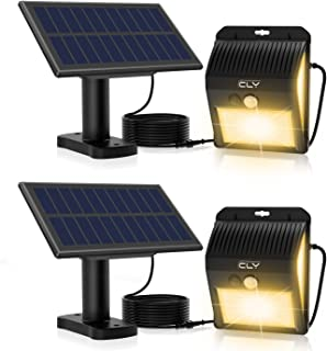 CLY Luces Solares LED Exterior Impermeable,Lámparas solares de pared con sensor de movimiento 3000K,extensión del cable de 3M, proyector para Jardín Muros Exteriore Patios Terrazas(2pcs)