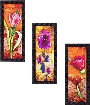eCraftIndia 'Decorative Floral Lady' UV Art Painting (Synthetic Wood, 53 cm x 41 cm, Set of 3, Satin Matt Texture)