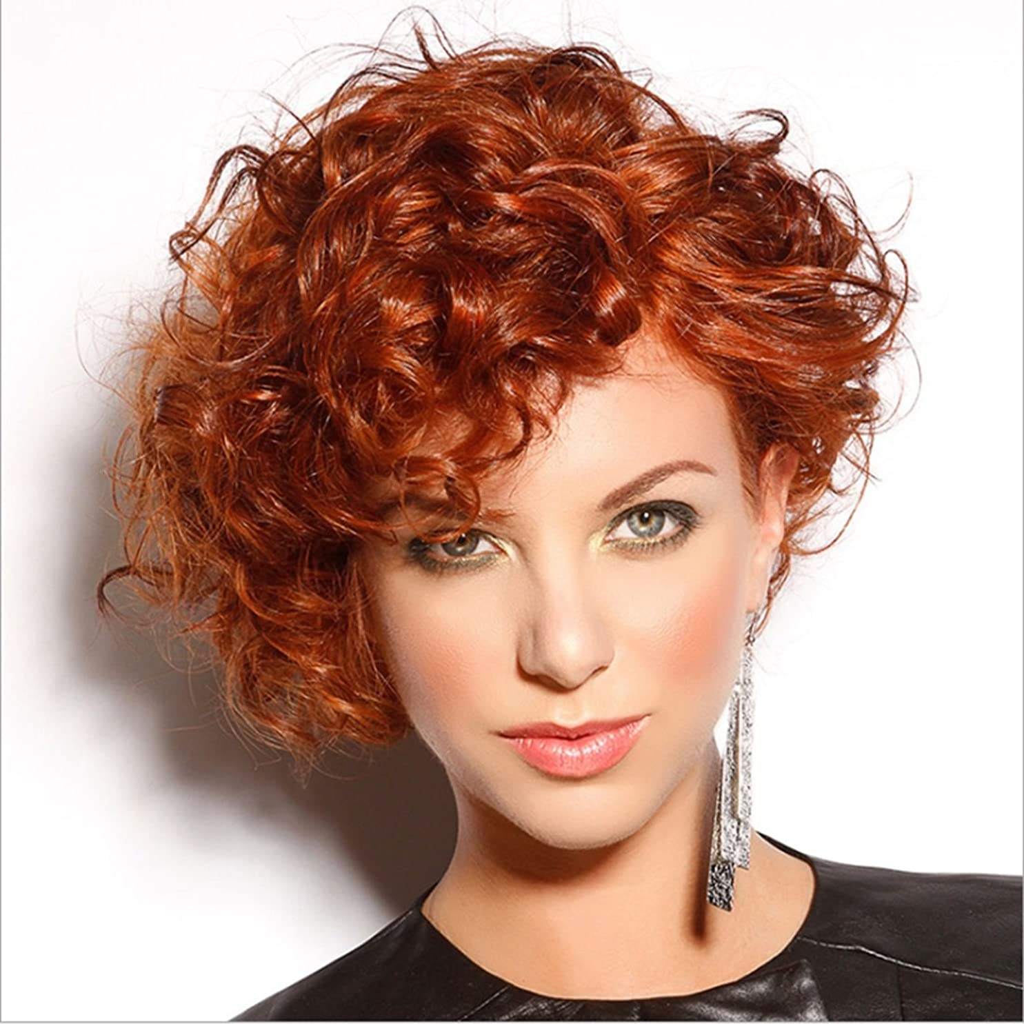 太字マーガレットミッチェル無駄なJIANFU 女性のための20cmのボボヘッドのウィッグ若者のパーソナリティの女性のための部分的な斜めバンズウィッグの短いカーリーヘアー (Color : Wine red)