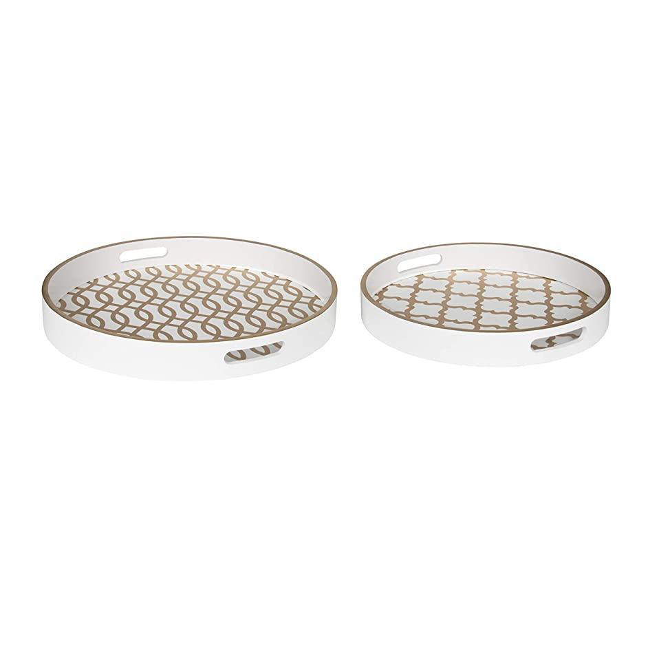 Kate and Laurel Palm Nesting Round Wood Decorative Accent Trays, White and Gold