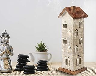storeindya 感謝祭ギフト 木製タワーハウスお香ホルダー アッシュキャッチャー付き 装飾的 無料 オーガニックお香3本