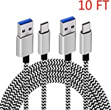 C Charger Cable Type C 3.0 High Speed Data Fast Charging Cord (10 FT 2Pack) Long Charger Compatible with Samsung Galaxy S9/S8 Note 10/9/8/S8,A50 A20 A80 A9,Google Pixel,Nintendo Switch