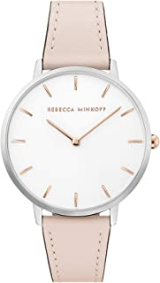 Women's Major Stainless Steel Quartz Watch with Leather Calfskin Strap, Blush, 16 (Model: 2200342)