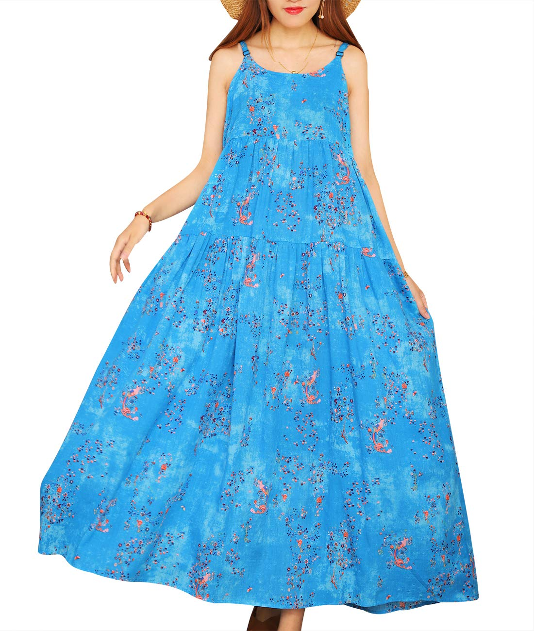 Available at Amazon: YESNO Women Casual Loose Bohemian Floral Print Empire Waist Spaghetti Strap Long Maxi Summer Beach Swing Dress XS-5X E75
