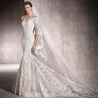 db2f7c50722 CJJC Robes de mariée élégantes pour Femmes sirène de mariée Mince Dentelle  Pure Queue de Fille