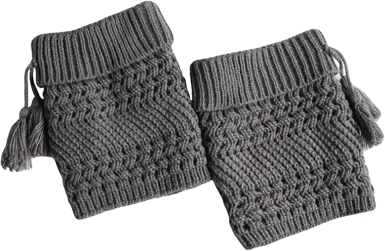 Bestgift Womens Tassels Boots Cuffs Crochet Knit Boot Socks Solid Short Leg Warmers