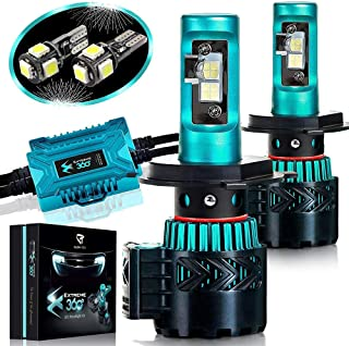 Glowteck LED Headlight Bulbs Conversion Kit - H4 (9003) Cree XHP50 Chip 12000 Lumens/Pair 68 Watt 6500 Kelvin 2 Year Warranty