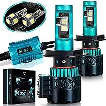 Glowteck LED Headlight Bulbs Conversion Kit - H4 (9003) Cree XHP50 Chip 12000 Lumens/Pair 68 Watt 6500 Kelvin 2 Year Warranty