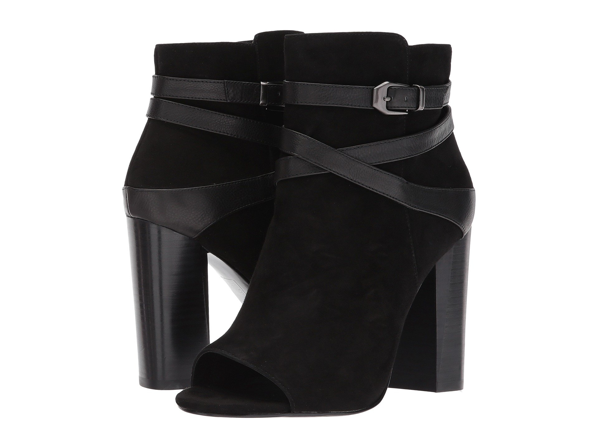 PELLE MODA Adrina Open-Toe High-Heel Nubuck Booties in Black Suede