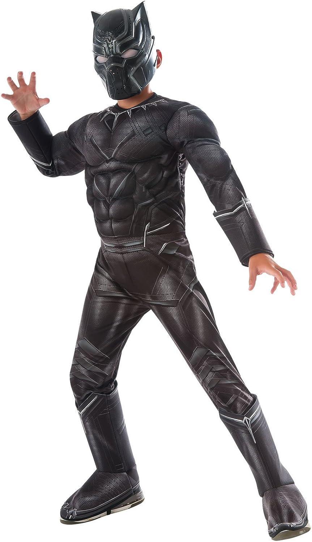 Rubies offizieller Kinder Marvel Panther Deluxe Kostüm Bürgerkrieg - schwarz, gro