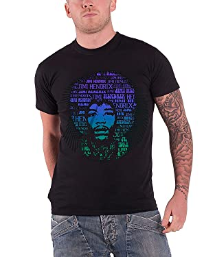 Jimi Hendrix T Shirt Afro Speech Groovy Band Logo Official Mens Black
