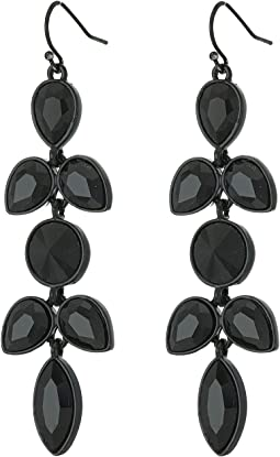 Stone Flower Cluster Drop Earrings