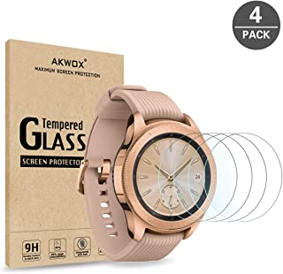 (4-Pack) Samsung Galaxy Watch (42mm) Screen Protector, Akwox [Tempered Glass] [Explosion-Proof] [0.3mm/2.5D] Screen Protec...
