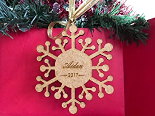 Personalized Wood Snowflake Engraved Any Name and Year Handmade Ornament Laser Cut Xmas Ornaments Christmas Hanging Tree Decorations Custom Holiday Family Gifts Wooden Gift Tag Winter Home Decor