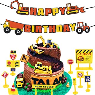 16 PCS JeVenis Construction Truck Birthday Cake Decoration with Construction Zoo Happy Birthday Banner Truck Forklift Bulldozer Road Roller Excavator Dump Truck Tractor for Children Birthday Party Sup