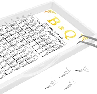 Premade Volume Fans Eyelash Extensions 12 Rows/Tray Short Stem Russian Volumes Lashes Extensions Fans C/D Curl 0.07/0.10 Thickness Individual Cluster Eyelash Extensions (5D-D curl-0.10, 10mm)