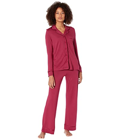 Cosabella Petite Amore Long Sleeve Top Pants Set PJ (Deep Ruby/Deep Ruby) Women