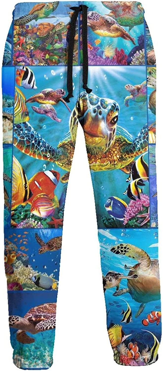 Mens Jogger Sweatpants Cute Sea Turtle Lightweight Workout Athletic Joggers Pants Trousers
