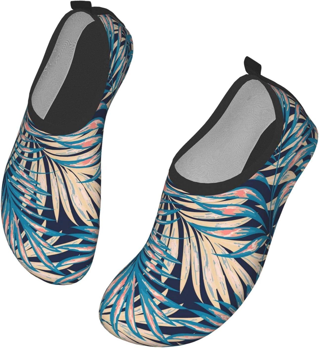 NA Beautiful Large Leaf Pattern Men's Women's Water Shoes Barefoot Quick Dry Slip-On Aqua Socks for Yoga Beach Sports Swim Surf