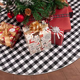 PinnacleT1 Christmas Tree Skirt Mat - 54/48/39 Buffalo Plaid Red White and Black Double Layers Tree Skirt Christmas Holiday Party Ornaments for Xmas Tree Decorations