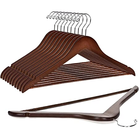 Quality Wooden Hangers - Slightly Curved Hanger 10 Pack Sets - Solid Wood Coat Hangers with Stylish Chrome Hooks - Heavy-Duty Clothes, Jacket, Shirt, Pants, Suit Hangers (Walnut/Retro, 10)