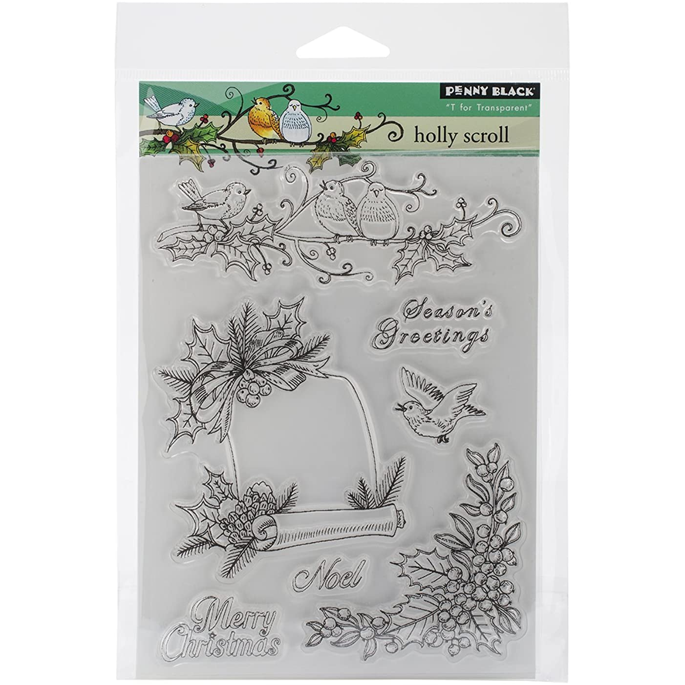 Penny Black 30-253 Decorative Rubber Stamps, Holly Scroll