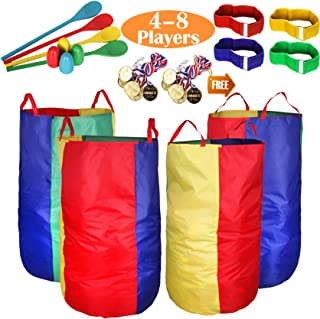 """Potato Sack Race Bags 34""""Hx17""""W(Pack of 4) with Game Prizes(12Pcs) for Children and Adults,High Quality,Bright Colors,No S..."""