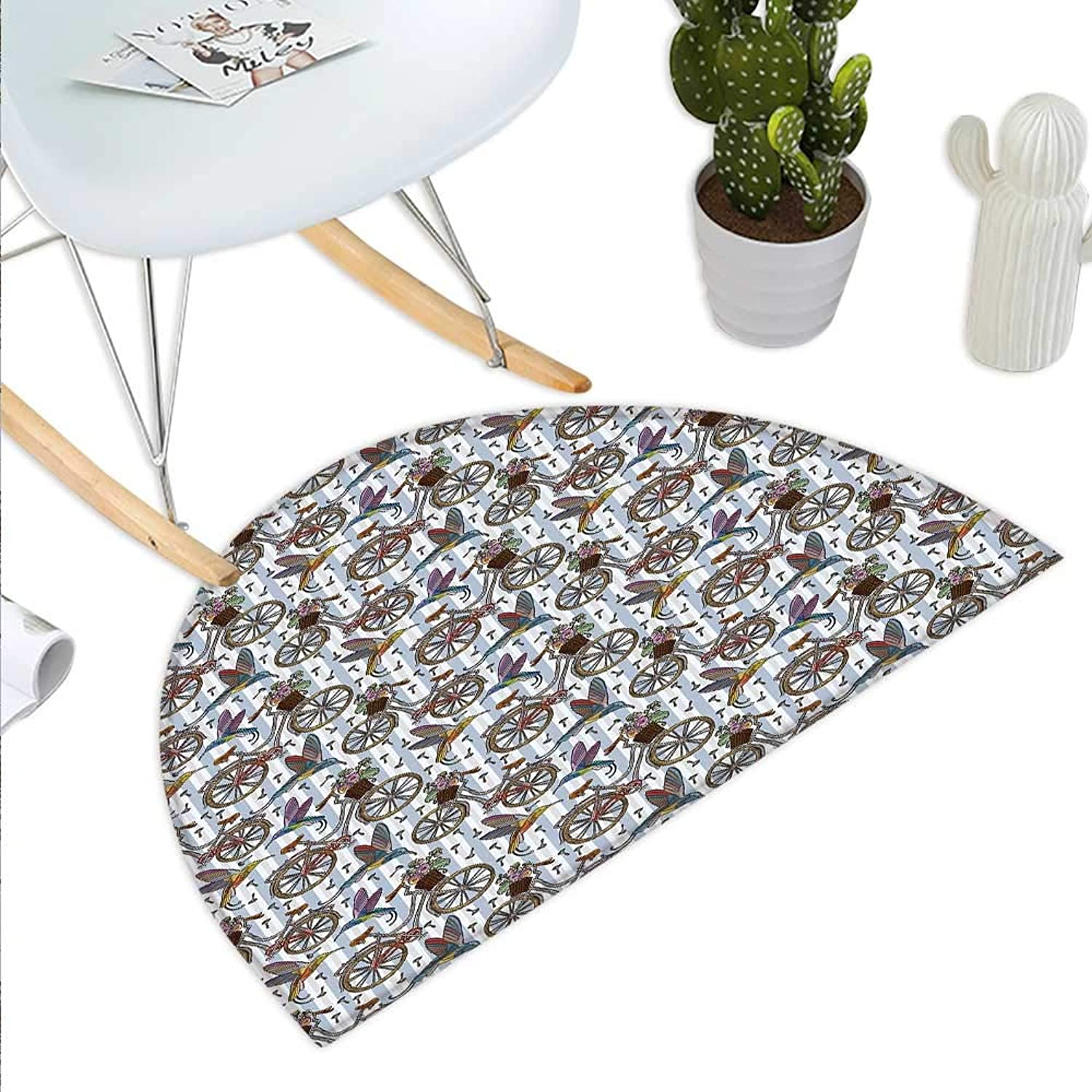 Bicycle Semicircle Doormat Nostalgic Bicycle Summer Flowers in Basket Accompanied with colorful Hummingbird Halfmoon doormats H 43.3  xD 64.9  Multicolor