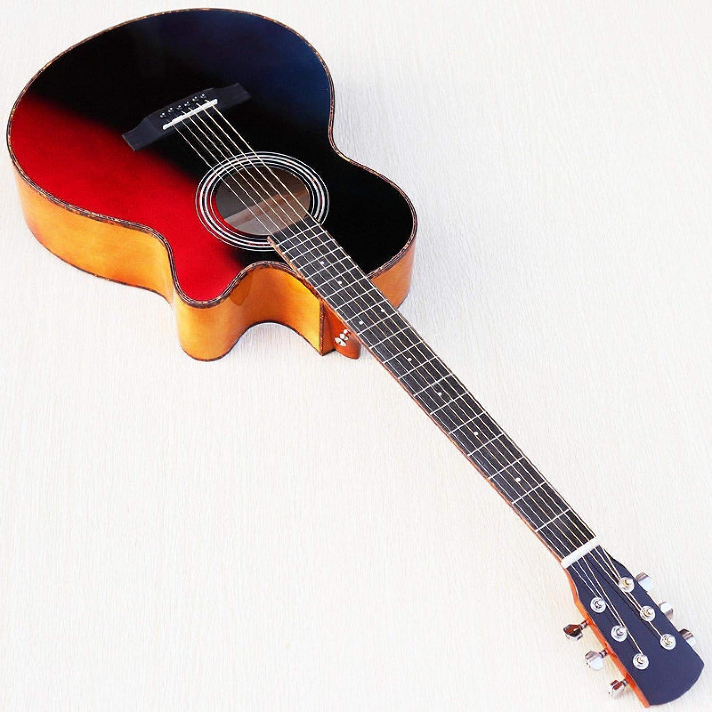 KEPOHK Guitarra eléctrica de 40 pulgadas Superficie de abeto Bajo simple Madera Panel trasero ligero Guitarra popular Caja en vivo Guitarra para principiantes Guitarra eléctrica de 40 pulgadas