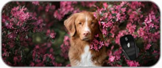XXL Extended Office Mouse Pad Dog Pet Pink Flower Retriever Stitched Edges Thin Pad
