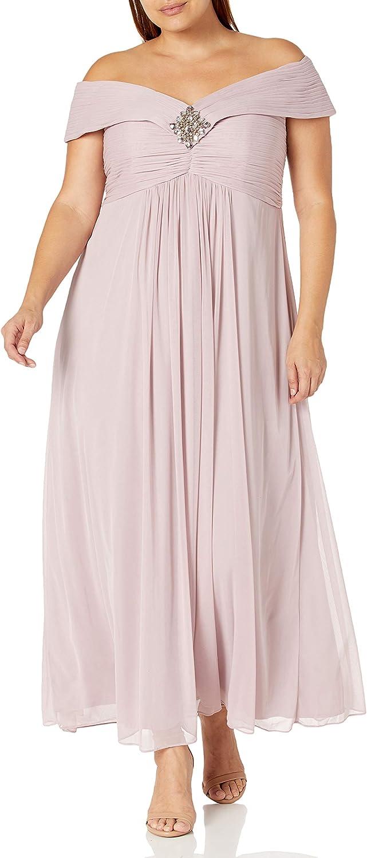 Alex Evenings Women's Plus-Size Plus-Size Portrait-Collar Tea-Length Dress