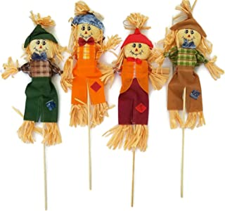 Scarecrow Decoration Set: Fall Yard Decor for Front Porch, Garden, Flower Bed, Planter - Indoor or Outdoor Scarecrow Stake Decor - Harvest, Halloween, Thanksgiving, Set of 4, 28 Inches