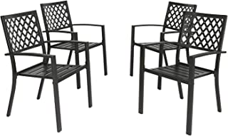 Ulax Furniture Outdoor Patio Dining Arm Chairs Steel Slat Seat Stacking Garden Chair (Set of 4)