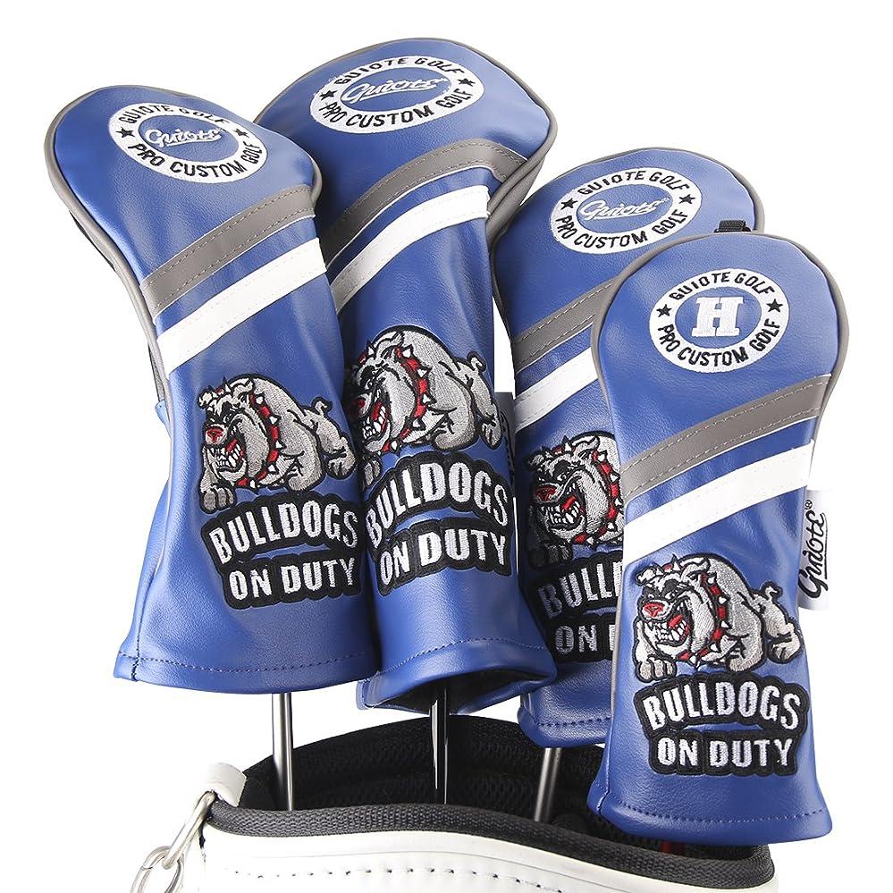 戸口先分Guiote ゴルフヘッドカバー Golf head covers クラブヘッドカバー ウッドカバー ドライバー 新デザイン 交換可能な番号タグ付き(#2.#3.#4.#5.X) 4個セット