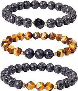 Jewever 3pcs Lava Rock/Tiger Eye/Obsidian Bracelets for Women Men Energy Healing Crystals Essential Oil Diffuser Aromather...