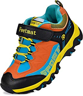 Feetmat Kids Hiking Shoes Waterproof Athletic Trail Running Sneakers Boys Girls Black Orange